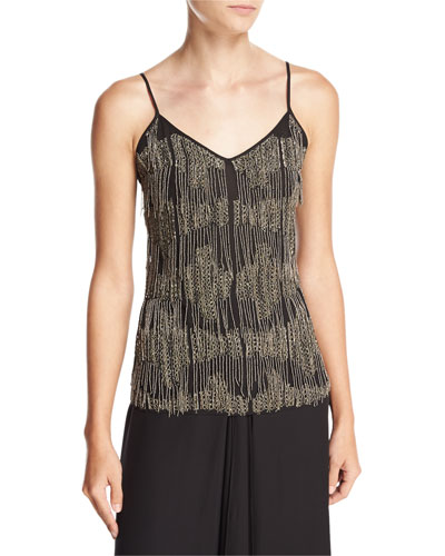 Silk Beaded-Fringe Camisole, Black
