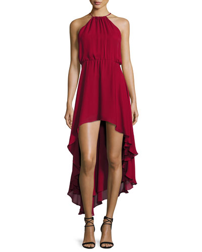 Silk Asymmetric High-Low Dress, Crimson