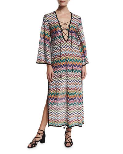Zigzag Lace-Up Maxi Beach Dress, Multicolor