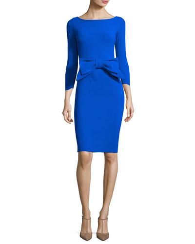Brestyn 3/4-Sleeve Bow-Trim Cocktail Dress, Cobalt