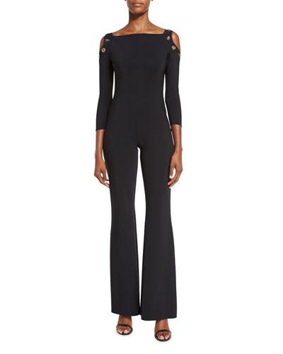 3/4-Sleeve Flare-Leg Jersey Jumpsuit, Nero