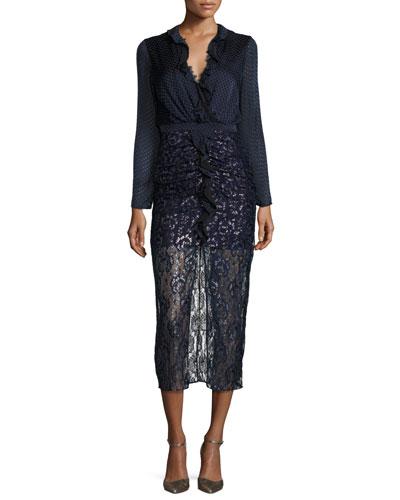 Yana Metallic Ruffle-Trim Lace-Combo Midi Dress