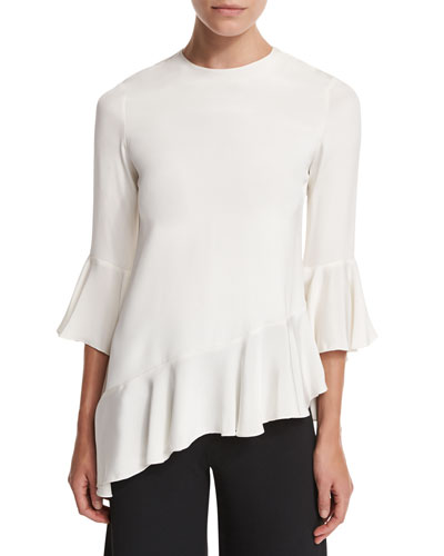Silk Bell-Sleeve Ruffle Top, Stone White