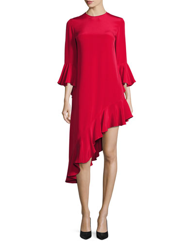 Hazel Ruffle-Trim Asymmetric Dress