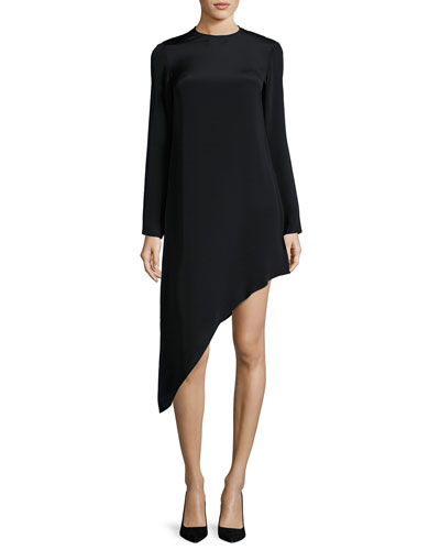 Helene Long-Sleeve Asymmetric Dress, Black