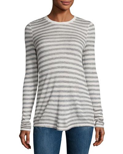 Long-Sleeve Striped Jersey Tee, Oatmeal/Gray