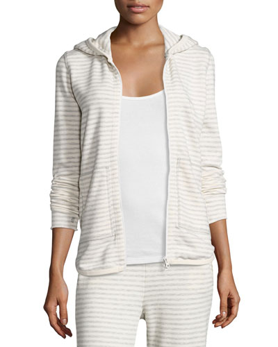 Hooded Striped Terry Sweatshirt, Heather Gray/Oatmeal