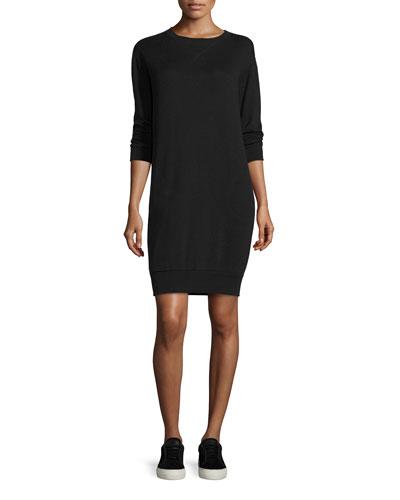 Crewneck Sweatshirt Dress, Black
