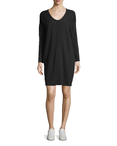 Flame Jersey V-Neck Shift Dress, Dark Gray