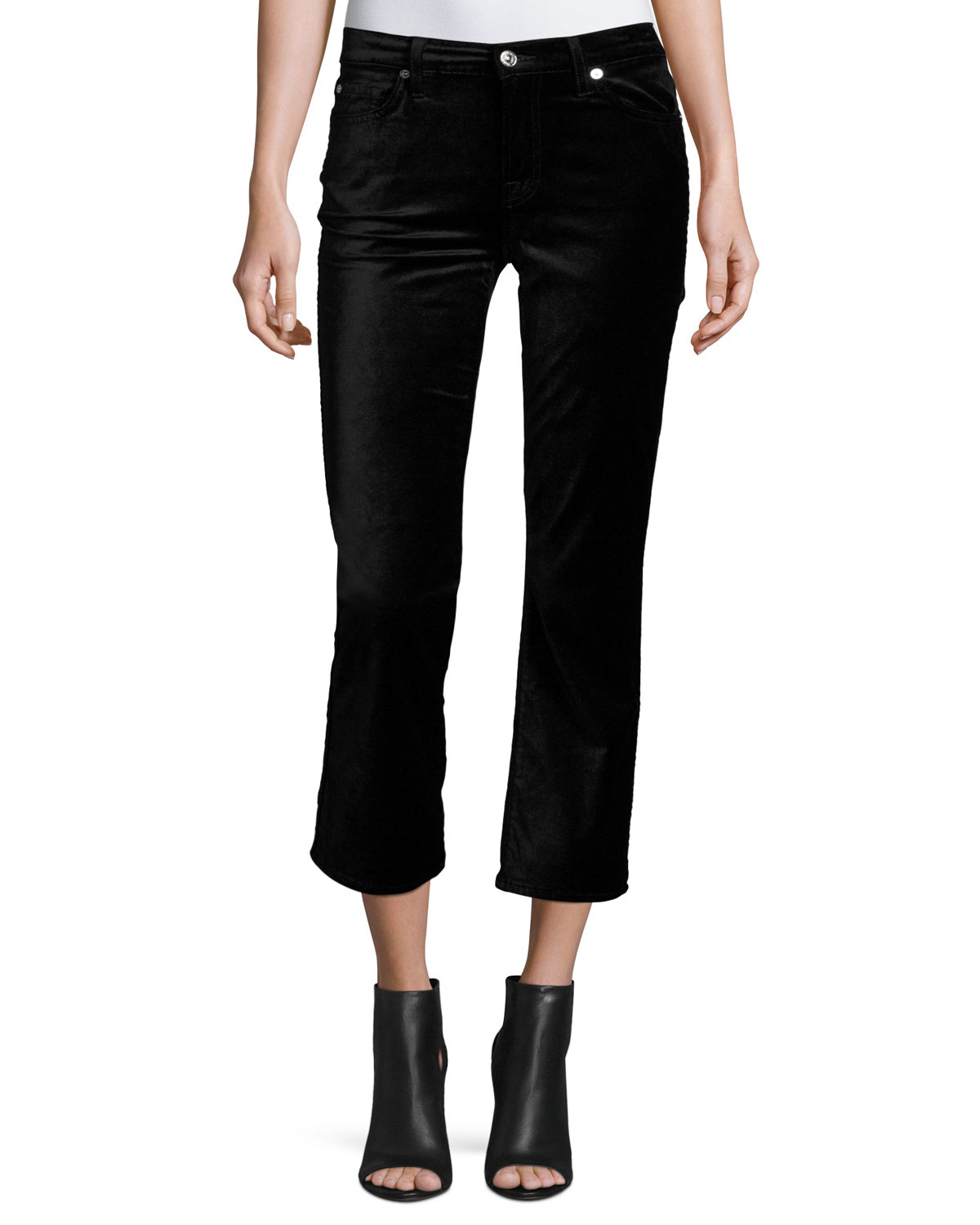 Cropped Boot-Cut Velvet Jeans, Black