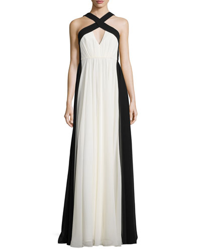 Sleeveless Colorblock Chiffon Gown, Chalk/Black