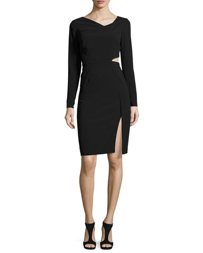 Long-Sleeve Cutout Sheath Dress, Black