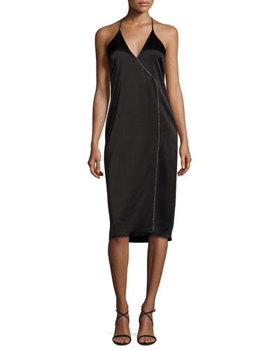 Sleeveless Strappy Satin Cocktail Dress, Black