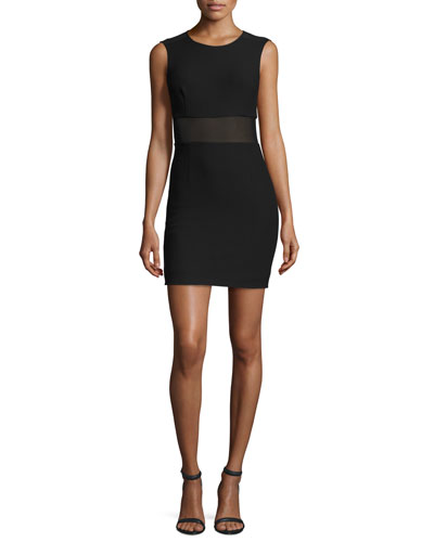 Jackie Sleeveless Ponte Mesh-Trim Mini Dress, Black