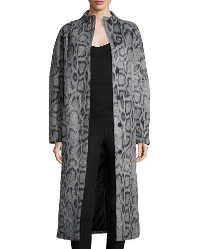 Balin Long Animal-Print Coat, Gray/Navy