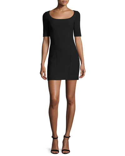 Aiden Ponte Mini Dress, Black