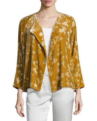 Audrey Floral Velour Open-Front Jacket, Bronze