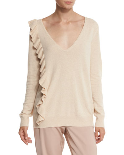 Odell V-Neck Ruffle-Trim Sweater, Champagne