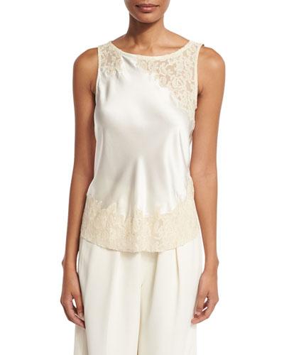 Fiora Sleeveless Silk Satin Top, Ivory