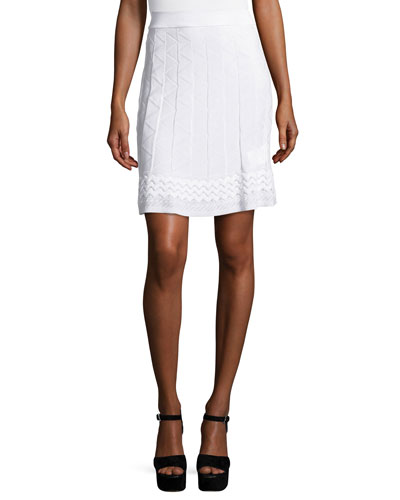 Zigzag-Knit A-line Skirt, White