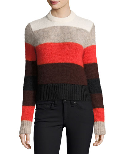 Britton Striped Ribbed Sweater, Ivory/Multicolor