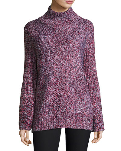 Bry Wool-Blend Pullover Sweater, Black/Multicolor