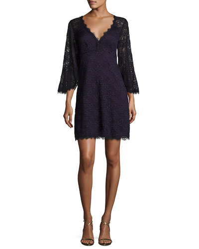 Bell-Sleeve Floral Lace Mini Dress, Eggplant