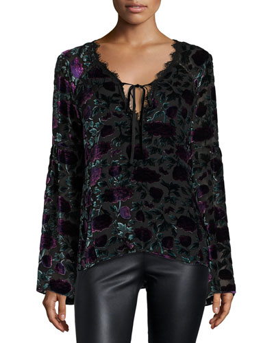 Long-Sleeve Floral Velour Blouse, Eggplant/Multicolor