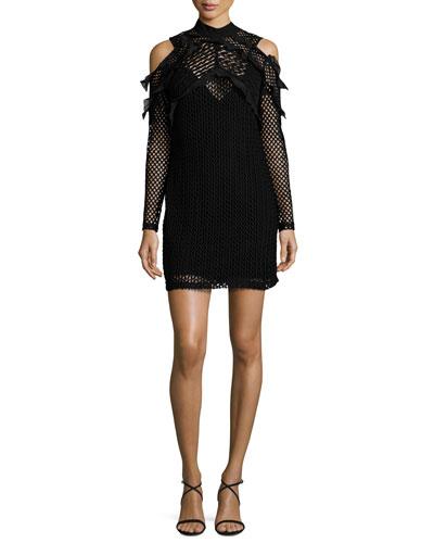 Purl Knit Cold-Shoulder Shift Dress