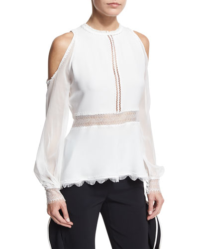 Silk Lace-Up Cold-Shoulder Shirt, Ivory