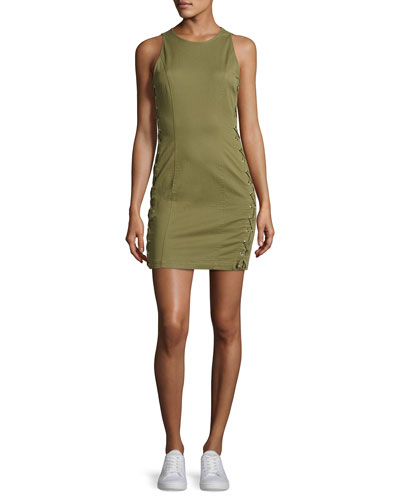 Valera Sleeveless Laced Twill Mini Dress, Sage