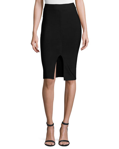Matte Ponte Pencil Skirt, Black