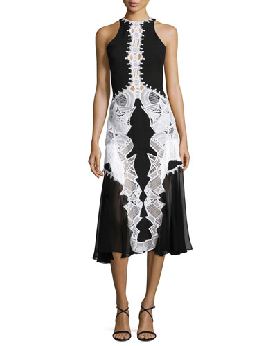 Lace-Appliqué Contoured Midi Dress
