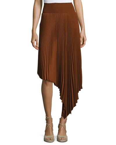 Sofia Asymmetric Pleated Midi Skirt, Chocolate
