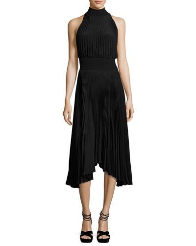 Renzo Pleated Jersey Midi Dress