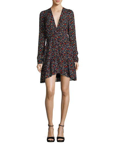 Renata Long-Sleeve Floral Silk Mini Dress, Black/Multicolor