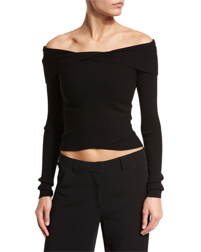 Rayne Cropped Overlap Ribbed Sweater, Black