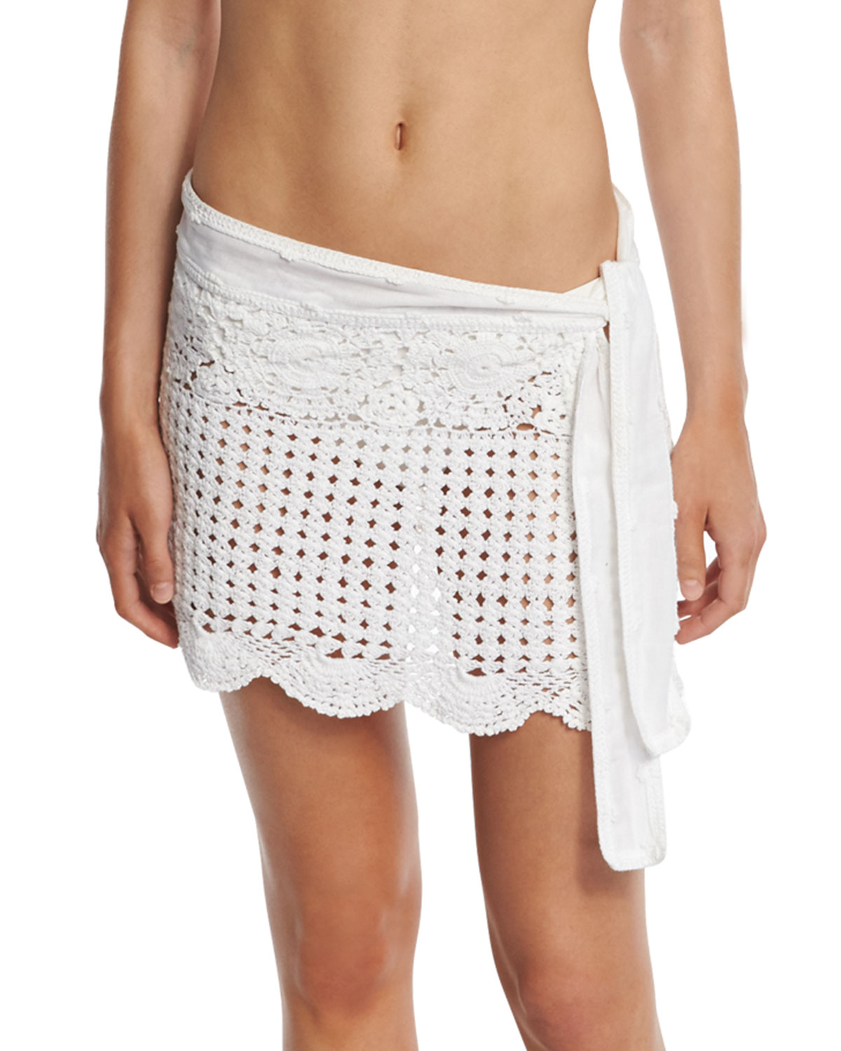 Crocheted Coverup Miniskirt, White