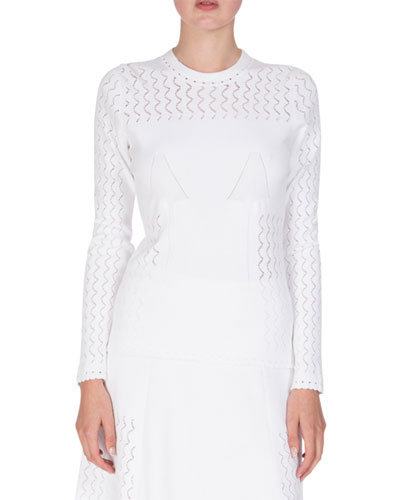 Long-Sleeve Scalloped Knit Sweater, White