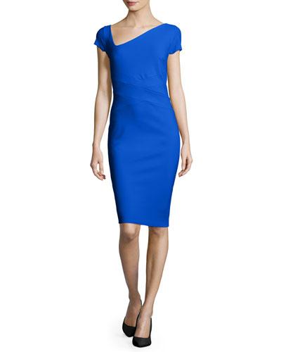 Meiko Asymmetric Sheath Dress, Cobalt