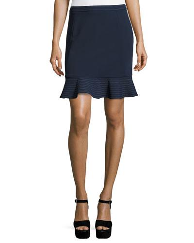 William Circle Ponte Flounce Skirt, Deep Navy