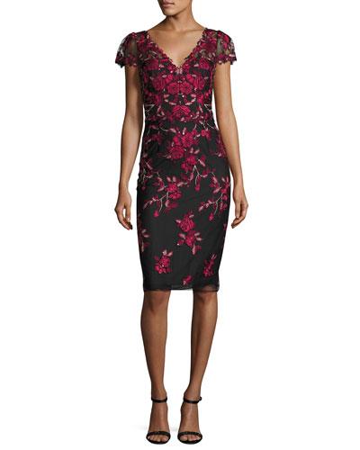 Rose-Embroidered Cap-Sleeve Cocktail Dress, Black