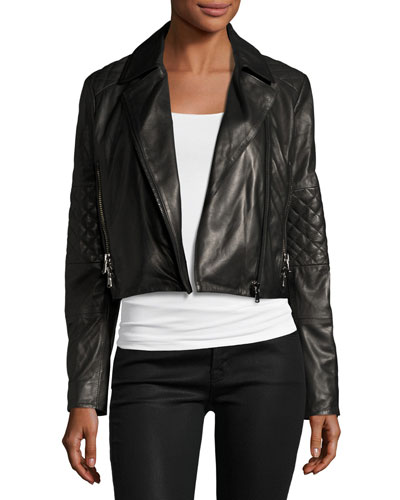 Adaire Leather Moto Jacket, Black