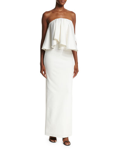 Liv Strapless Satin Twill Maxi Dress, Cream
