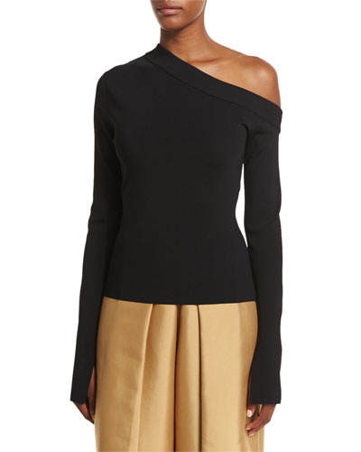 Kelsey Asymmetric Jersey Top, Black