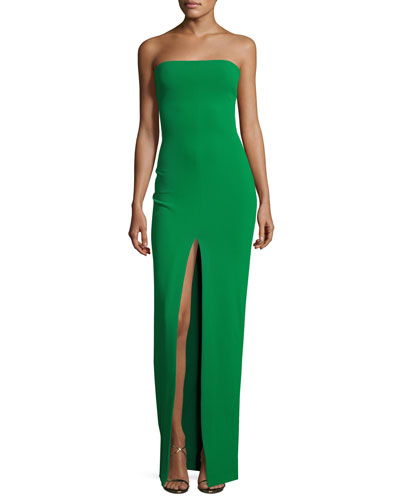 Aubrey Strapless Ponte Maxi Dress, Green