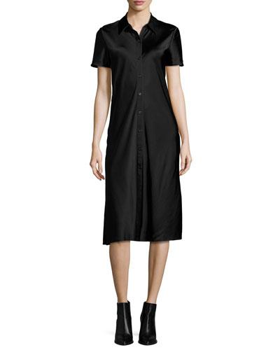 Short-Sleeve Collared Satin Shirtdress, Black