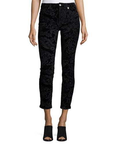 Velveteen Paisley Ankle Skinny Jeans, Black