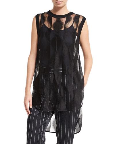 Sleeveless Sheer Patterned Tunic, Black