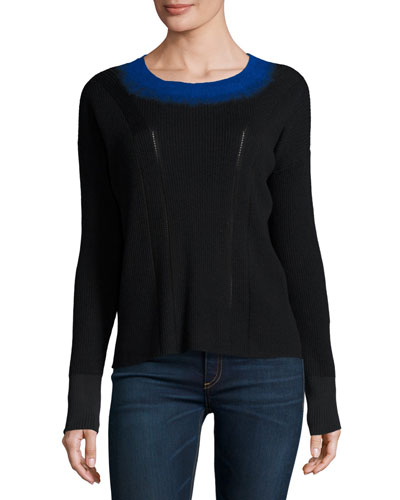 Lynette Ribbed Ombre-Neck Pullover Sweater, Black
